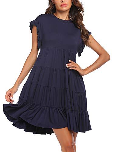 Bricnat - Vestido de mujer con cuello redondo, manga corta, vestido de playa suelto azul XXL