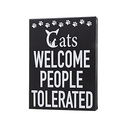 JennyGems - Cats Welcome People Tolerated - Cat Signs for Home Decor - Cat Lover Decor - Cats Welcome Sign- Cat Signs - Cat Lover Gifts, Funny Cat