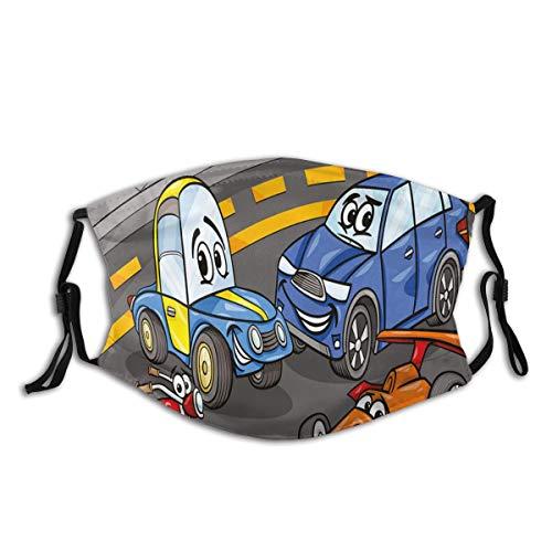 DYCBNESS Face Cover Comic Autos und Motorrad Cartoon Charaktere Spielzimmer Design Wiederverwendbare Anti-Staub-Mund-Bandanas mit 2 Filtern