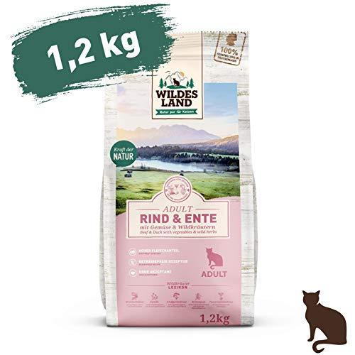 Wildes Land | 1,2 kg | Trockenfutter für Katzen | Rind und Ente | Getreidefreie Rezeptur | Hoher Fleischanteil | In Deutschland zubereitet | Hoher Eiweißanteil | Natürliche Zutaten