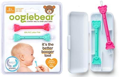 oogiebear Two Pack - Patented Nose and Ear Gadget. Safe, Easy Nasal Booger and Ear Cleaner for Newborns and Infants. Dual Earwax and Snot Remover. Aspirator Alternative - Raspberry Seafoam with case
