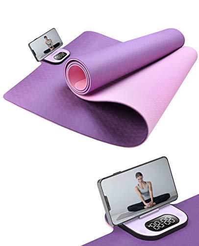 Beedove Esterilla de yoga con soporte telefónico y temporizador digital, doble punto antideslizante, 100% ecológico, alfombrilla para gimnasio, fitness, deportes, yoga, portátil, pilates
