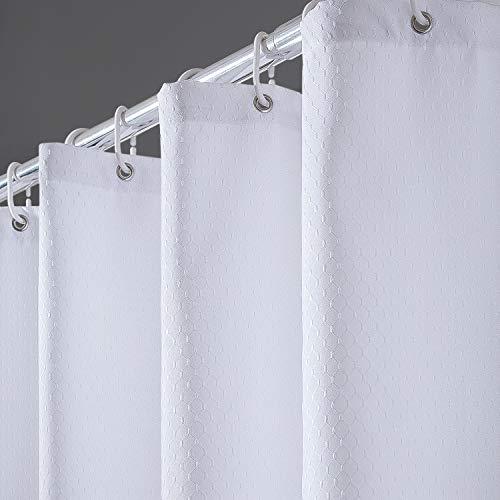 Furlinic Duschvorhang Überlänge 180x210 für Badewanne und Bad, Schwerer Badvorhang aus Stoff Wasserabweisend Waschbar Anti-shcimmel, Shower Curtains mit 12 Duschvorhangringen Waffelmuster Weiß.