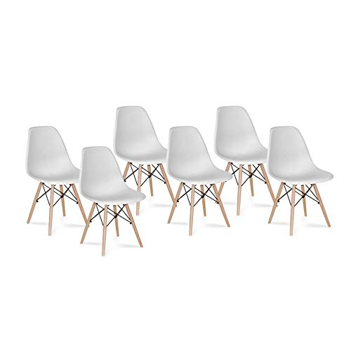 Venditadimobilionline Set di 6 SEDIE Tower Wood Bianche Extra Quality