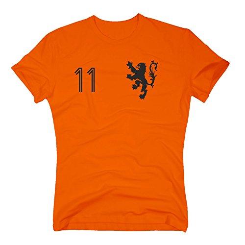 Shirt Department - Holland Trikot - Herren T-Shirt - mit Wunschnummer - Nederland Niederlande, L, orange