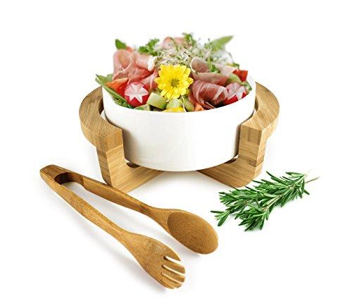 Salatschale aus Porzellan inkl. Salatbesteck und Gestell Salatschüssel Schüssel