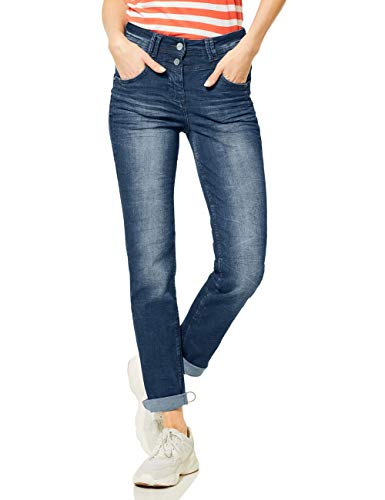 Cecil Damen Toronto Straight Jeans, Authentic mid Blue wash, W33/L30