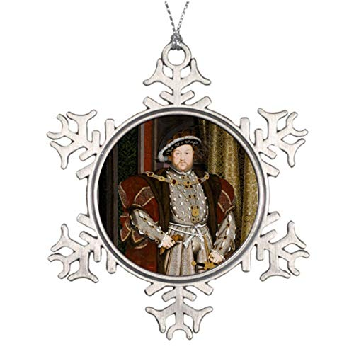 Xmas Snowflake Ornaments Portrait of Henry VIII by Hans Holbein The Younger Decorative Metal Snowflake Ornaments for Christmas Trees