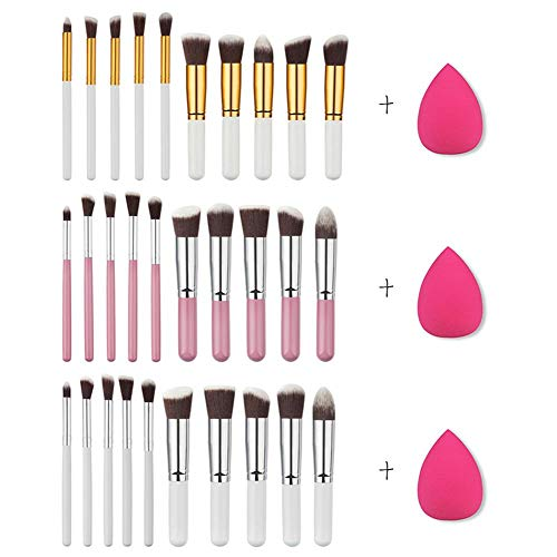 Kathariiy 10PCS/Set of Makeup Brushes Include Pink Water Drop Rose Shape Cosmetic Tool for Girls Make Up Use