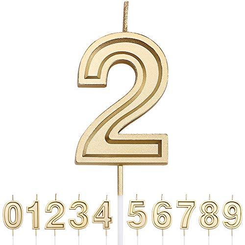 URAQT Velas Cumpleaños Número 2, Velas de Pastel de Cumpleaños, Velas Doradas para Cumpleaños/Aniversario de Bodas/Fiesta de Graduación, Número 0-9 para Elegir