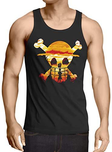 style3 Pirate Sunset Camiseta para Hombre T-Shirt One Anime Piece japonés, Talla:XL