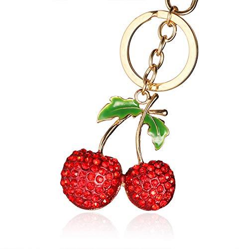 N/Een legering strass ornament kersen mooie portemonnee tas hanger rode sleutelhanger auto sleutelhanger