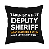 DEPUTY SHERIFF GIFT IDEAS FOR MEN AND WOMEN Deputy Sheriff Girlfriend Boyfriend Wife Husband Funny Quote Throw Pillow, 18x18, Multicolor