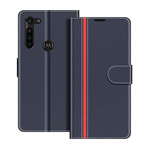 COODIO Handyhülle für Motorola Moto G8 Power Handy Hülle, Motorola Moto G8 Power Hülle Leder Handytasche für Motorola Moto G8 Power Klapphülle Tasche, Dunkel Blau/Rot