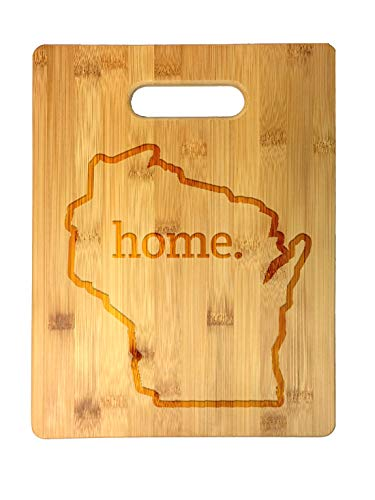 Home State Wisconsin Outline USA United States Laser Engraved Bamboo Cutting Board - Wedding, Housewarming, Anniversary, Birthday, Father's Day, Gift (Wisconsin)