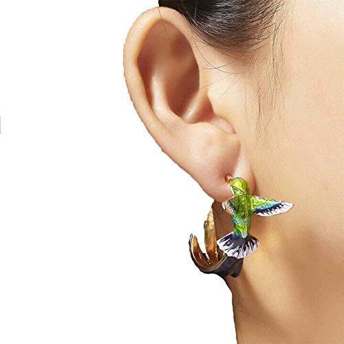 Cute Hummingbird Earrings - Flying Hummingbird Oil Painting Earrings, Enamel Hummingbird Stud Earrings for Women Colorful Animal Studs Earring Jewelry
