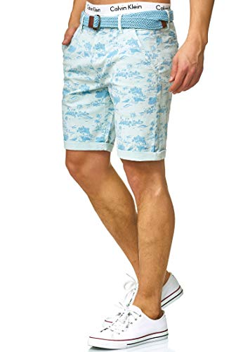 Indicode Herren Lilestone Chino Shorts mit 4 Taschen inkl. Gürtel aus 98% Baumwolle | Kurze Hose Regular Fit Bermuda Stretch Herrenshorts Short Men Pants Sommerhose für Männer Sky Way L