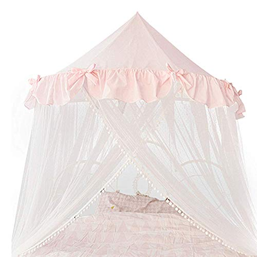 TYP Mall Gamloious Moskitonetz Baldachin Hängen Kind-Baby-Bettwäsche-Dome-Bett Moskitonetz Für Kinderzimmerdekoration Mit DIY Für Kinder, Jungen Mädchen 280cm,Pink 1