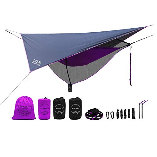 LAZZO Camping Hammock Set All-Inclusive,Single Hammock,Bug Net,Tarp,Suspension,Guyline,Stakes and Backpack,Perfect for Backpacking,Camping,Hiking & Yard (Purple, 9.2)
