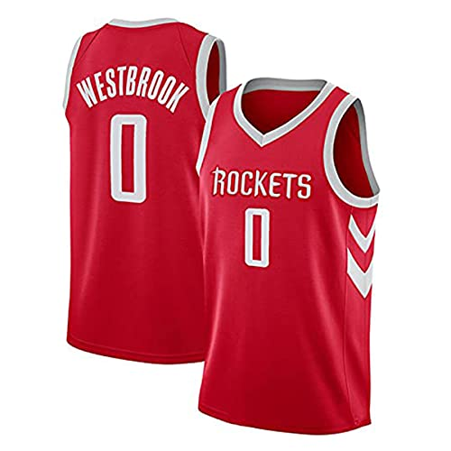 YMFZYM Camiseta de Baloncesto para Hombre Russell Westbrook 0# Houston Rockets Camiseta de Aficionado al Baloncesto Chaleco de Baloncesto de Verano Uniforme Tops Camisetas de Baloncesto,Red2,S