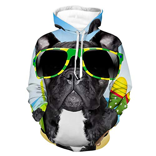 Mens Womens Comfy Hoodies 3D Printed Unisex Long Sleeve Hooded T-Shirts Brazil French Bulldog Pattern Outdoor Outfit for Athletic Party