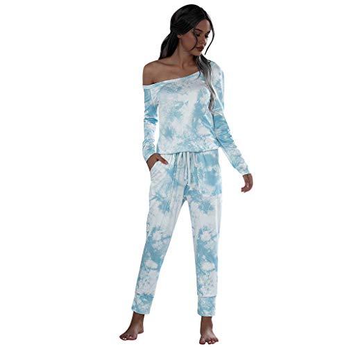 ZBYY Conjunto de pijama para mujer, teñido anudado, camisetas largas y pantalones para correr, pijama de dos piezas, ropa de dormir con bolsillos - azul - M