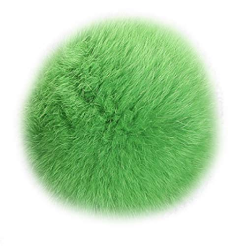 LvBo Rabbit Fur Ball Pom Pom Key Chain Gold Keychain with Plush for Car Key Ring Handbag (green)