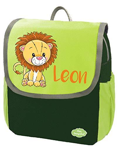 Mein Zwergenland Kindergartenrucksack Happy Knirps NEXT mit Name Löwe, 6L, Grün