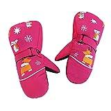 Ski Fäustlinge Kinder Handschuhe mit Klettverschluss Unisex Baby Wasserdichtes Gewebe Mitts Handschuhe Anti-Rutsch Windproof Skatinghandschuhe Fäustel Wasserdicht Reflektierend für 3–8 Jahre (Rosa)