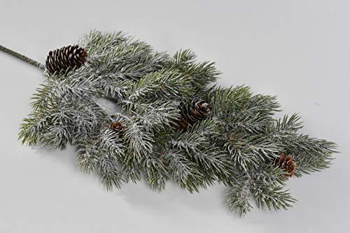 FIDEO - Tannenzweig beeist 62cm mit Zapfen beschneit Winterdeko Weihnachten