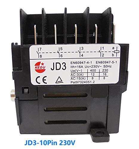 Elektromechanische Relais Schalter JD3 JD4 für Elektrowerkzeug KEDU 8Pins 10Pin 16A 230V 400V (JD3 230V 10Pin)