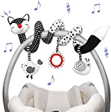 Euyecety Baby Toys Spiral Plush, Black and White Car Seat Toys Stroller Toys Spiral Activity Toy, Hanging Rattle Toys for Crib Mobile, Newborn Sensory Toy Best Gift for 0 3 6 9 12 Months Baby-Fox