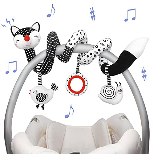 Euyecety Baby Spiral Plush Toys, Black White Stroller Toy Stretch & Spiral Activity Toy Car Seat Toys, Hanging Rattle Toys for Crib Mobile, Newborn Sensory Toy Best Gift for 0 3 6 9 12 Months Baby-Fox