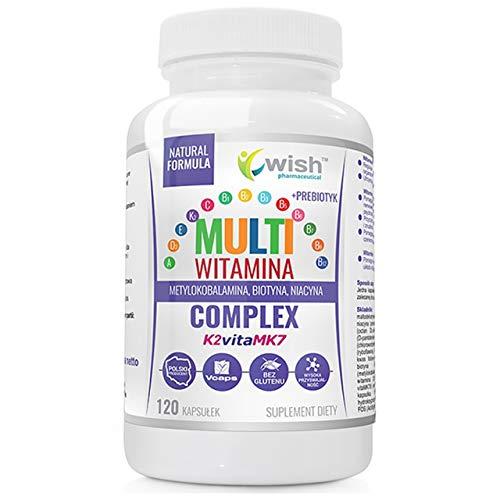 Wish Pharmaceutical Complejo Multivitamínico Prebiótico Paquete de 1 x 120 Cápsulas – Vitamina ADEK C B6 y B12 - Tiamina - Riboflavina - Niacina - Ácido Pantoténico - Biotina - Ácido Fólico