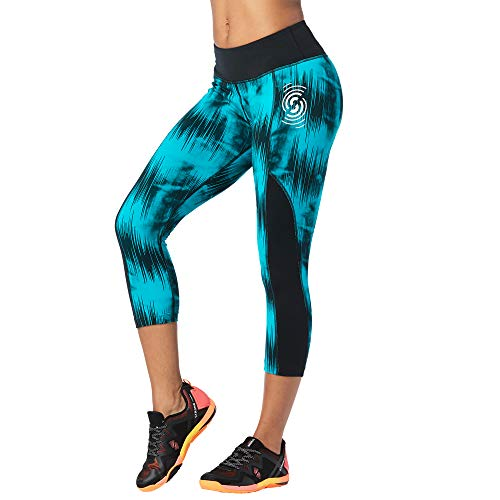 Zumba Fitness® Women's Wide Waistband Athletic Performance Cropped Workout Leggings with Compression - Legging Mujer