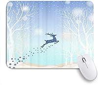 ZOMOY マウスパッド 個性的 おしゃれ 柔軟 かわいい ゴム製裏面 ゲーミングマウスパッド PC ノートパソコン オフィス用 デスクマット 滑り止め 耐久性が良い おもしろいパターン (跳躍鹿雪片ファンタジーツリー)