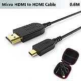 Slim Micro HDMI Kabel,Ultra DünnundFlexibel Mikro HDMI auf HDMI Kabel 0.6M für GoPro Hero 7,Canon Kamera,Gimbal,Stabilizer,Dünnste Schlanke Micro HDMI Cable,Unterstützt 4K@60Hz,UHD,3D,Ethernet,ARC
