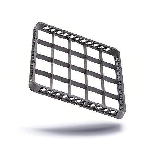 Kerafactum® - Aufsatz Rahmen für Spülkorb Korb Erweiterungselement für Körbe mit 20 Felder Fächer für Gläser für die Gastro Spülmaschine Spülmaschinenkorb aus Kunststoff 50x50 cm erweiterbar - rack extender