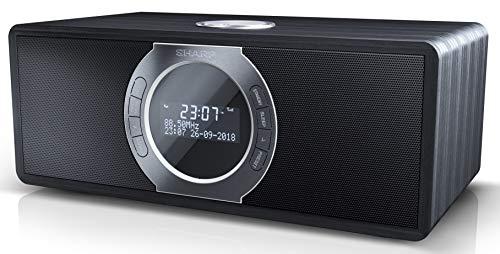 SHARP DR-S460 (BK) Stereo Digitalradio/DAB, DAB+, Bluetooth, FM Radio, Alarm-/Schlaf und Snooze-Funktion, 30 Watt, Holzoptik, Schwarz