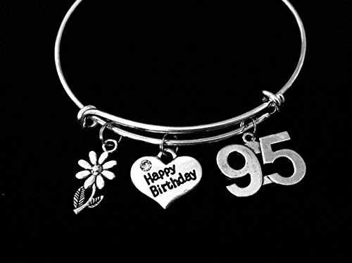 95th Birthday Adjustable Bangle Bracelet