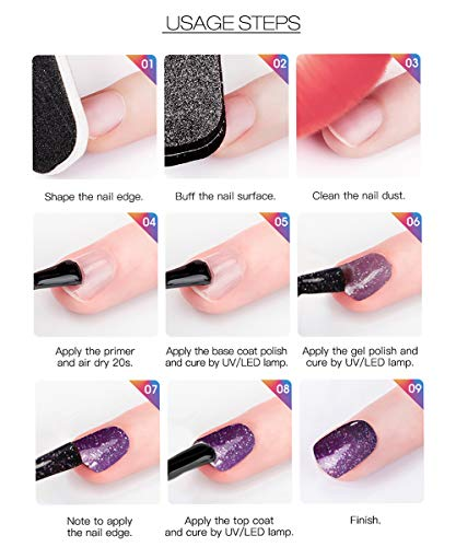 ROSALIND 2PCS capa superior y capa base gel esmalte de uñas empapa de UV LED barniz multiusos 15 ml…