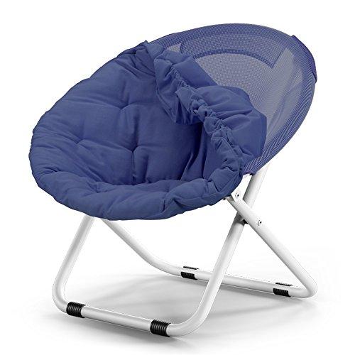 SMC Folding chair Klappstuhl für Erwachsene, Mondstuhl, Sonnenstuhl, Relaxsessel, Klappstuhl, runder Stuhl, Sofasessel, einfarbig, Farbe: Marineblau.