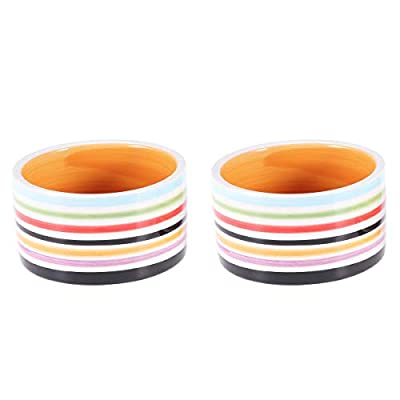 POPETPOP Hamster Feeding Bowl-2pcs Ceramic Food Dishes for Guinea Pig,Rat,Gerbil,Hedgehog,Syrian Hamster Small Pets by POPETPOP