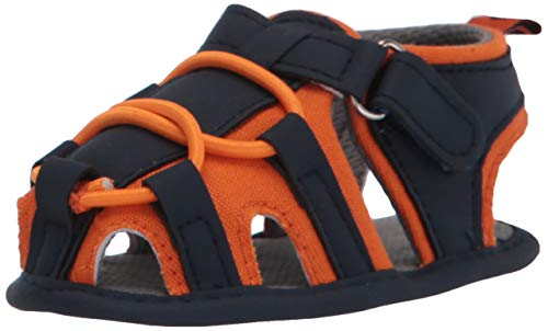 Isbasic Baby Boys Girls Summer Beach Breathable Athletic Closed-Toe Sandals Soft Sole Anti-Slip Toddler First Walker Shoes, A-orange, 6-12 Months Infant