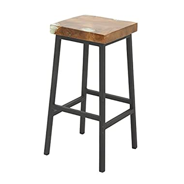 Deco 79 42056 Teak Resin Metal Barstool, 16  x 30