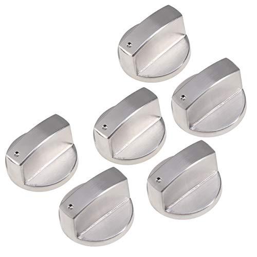 6 Stücke Universal Silber Gas Herd Steuer Knöpfe Herd Drehknopf Ofen Schalter Kochfläche Control für Küche (Silber)