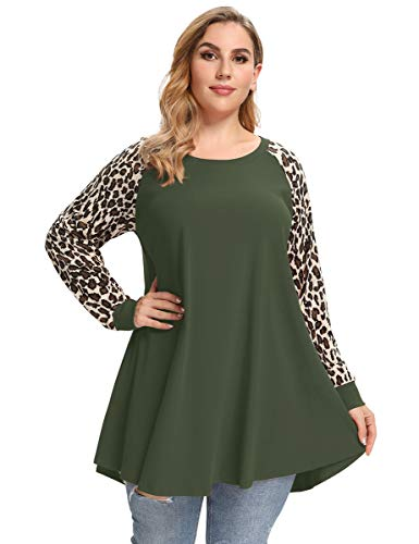 LARACE Plus Size Tops For Women Lightweight Leopard Sweatshirt Color Block Long Sleeve Tunic Pullover Shirts For Legging(Army Green L)