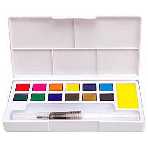 Xkfgcm Bloques de Acuarela de 12 Colores Estuche Acuarelas Multicolor Set de Pintura de Acuarelas Compuesto 1 Pinceles con Depósito de Agua de Paleta Pintar Dibujo Colorido Dibujo 145 * 76 * 20 mm