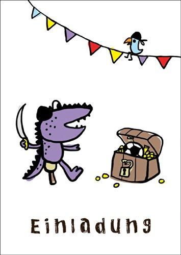 Coole uitnodigingskaart voor verjaardag met piraten • ook voor direct verzenden met uw persoonlijke tekst als inlegger. • Elegante verjaardagskaart met envelop voor vrienden en familie
