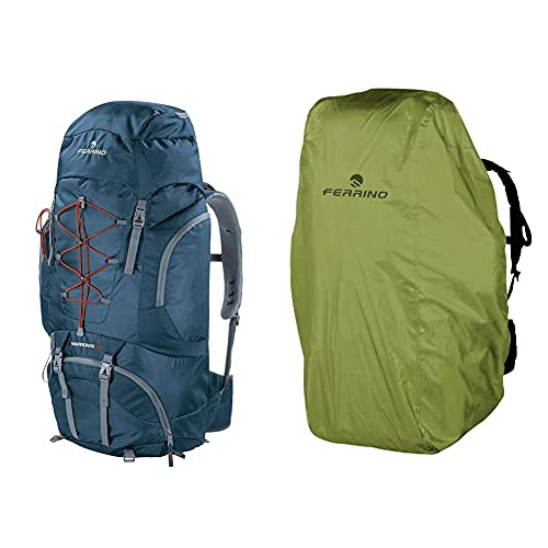 Ferrino Narrows Zaino Da Hiking Unisex, Blu, 70 Litri & Cover, Coprizaino Unisex Adulto, Verde, 45-90 Litri